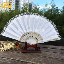 Free Shipping with Organza Gift bag Plastic Lace Hand Held Fans Tulle Folding Fans Wedding Dancing Hem Night Party Gifts(China)