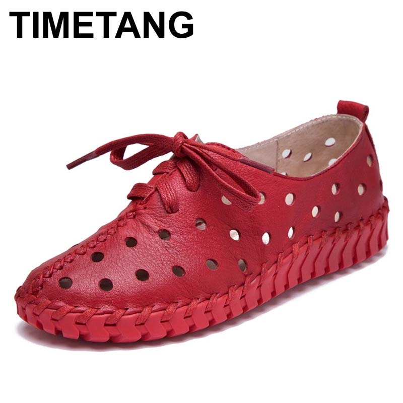 TIMETANG Spring and summer genuine leather shoes women hollow female Lace genuine leather flats women shoes casual shoes women<br>