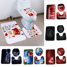 3pcs/set Christmas Bathroom Toilet Seat Cover Rug Mat Christmas WC Decorations Novelty Design Cartoon Toilet Seat Cover(China)