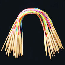 "[2.0-10.0mm]18Pcs 16"" 40cm Multicolor Plastic Tube Circular Carbonized Bamboo Knitting Needles Weave Yarn Craft Tool Set(China)"