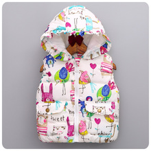 Retention  2016 Autumn Korean Children's Garment Girl Baby Birdie Doodle Vest Girl Autumn Vest Waistcoat