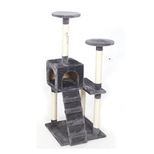 PAWZRoad Cat Scratching Toy Wood Climbing Tree Cat Jumping Toy with Ladder Climbing Frame Cat Furniture Scratching Post #0210