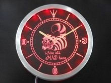 nc0234 The Cheshire Cat Alice in Wonderland Neon Sign LED Wall Clock Wholesale Dropshipping