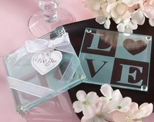 100sets+New wedding favor LOVE glass coaster guest gifts souvenirs bridal shower favors party supplies decoration