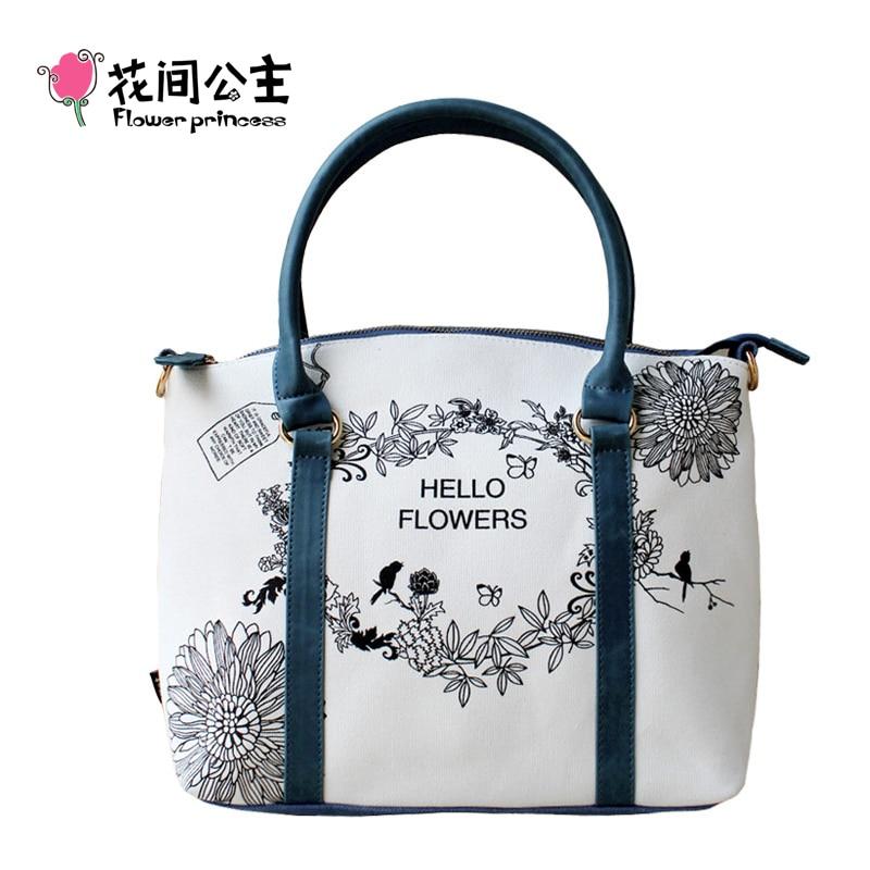 Flower Princess Canvas Large Tote Shoulder Crossbody Bags Women Handbags Ladies Hand Bags Bolsa Feminina Bolsos Mujer Tassen<br>