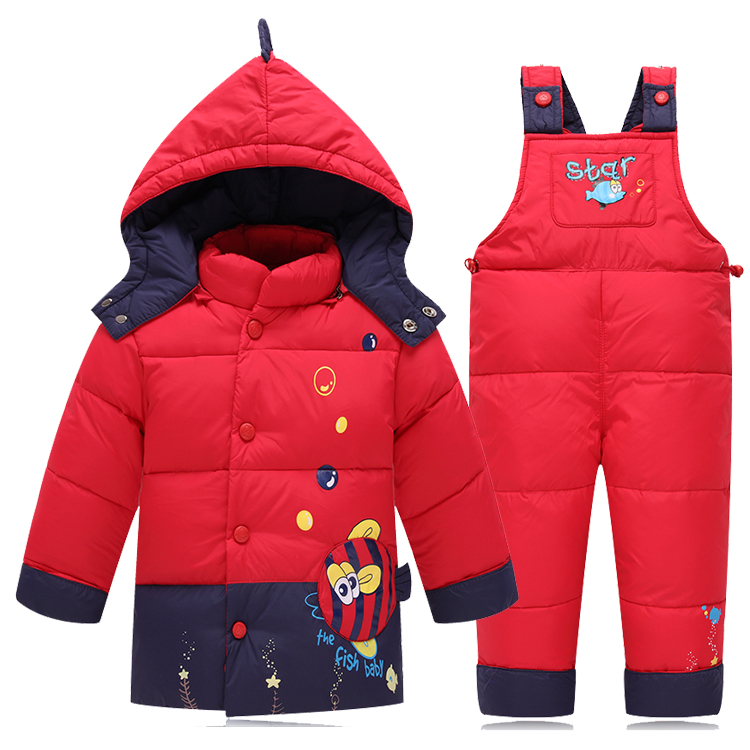 2016 Baby Girls Down Clothes Suits Children Boys Winter Warm Jacket Set Kids Baby Cute Coat Thick Clothing Down Clothing<br>