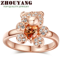 Top Quality Bear Ring Rose Gold Color Ring Health Jewelry  Rhinestone Austrian Crystal ZYR104 ZYR129 ZYR130