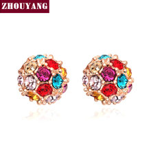 Top Quality Lucky Ball Crystal Rose Gold Color Fashion Earring Jewelry Made with Austrian Crystal Wholesale ZYE380 ZYE381 ZYE382(China)