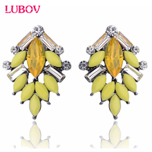 2017 New Trendy Jewelry Hot Sale Classic Tree Shape Acrylic Opal Stone Stud Earrings Elegant Statement Women Piercing Earrings