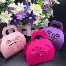 50pcs Love 3 Color Heart Design Handbag Laser Cutting Candy Box Wedding Gift Box Wedding Favors And Gifts Wedding Decorations