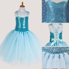 Fashion light blue sequined bandage princess girls tutu dress boutique designer kids wear