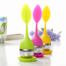 Sweet Leaf Silicone& Stainless Steel Tea Infuser Reusable Strainer with Drop Tray Novelty Tea Ball Herbal Spice Filter Tea Tool