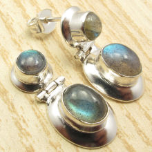 Silver Plated Blue Fire LABRADORITE Gem Stone HINGE Stud Post Earrings 1 ""