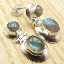 "Silver Plated Blue Fire LABRADORITE Gem Stone HINGE Stud Post Earrings 1 ""(China)"