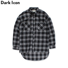 Black White Plaid Flannel Shirt Men Long Sleeve 2017 Spring Fron Short Back Long Hip Hop Shirt Oversized Shirts Justin Bieber(China)