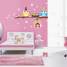 Cute Removable Owl Snowflake PVC Art Wall Stickers Decals Christmas Home Decor Wholesale Christmas Ornaments Enfeite De Natal@GH(China)
