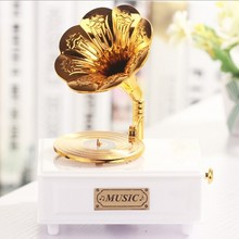 1PC Classical Gold Phonograph Model Music Cassette Drawer Music Box Room Decoration KN 044