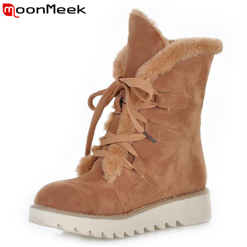 Fashion winter plus size four sweet colors round toe ankle boots with fur lace up popular flat comfortable women boots<br><br>Aliexpress