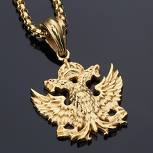 Animal Charm Double Headed Eagle Pendant King Necklace Stainless Steel Necklace Star Jewelry Men Hip Hop Dance Franco Chain
