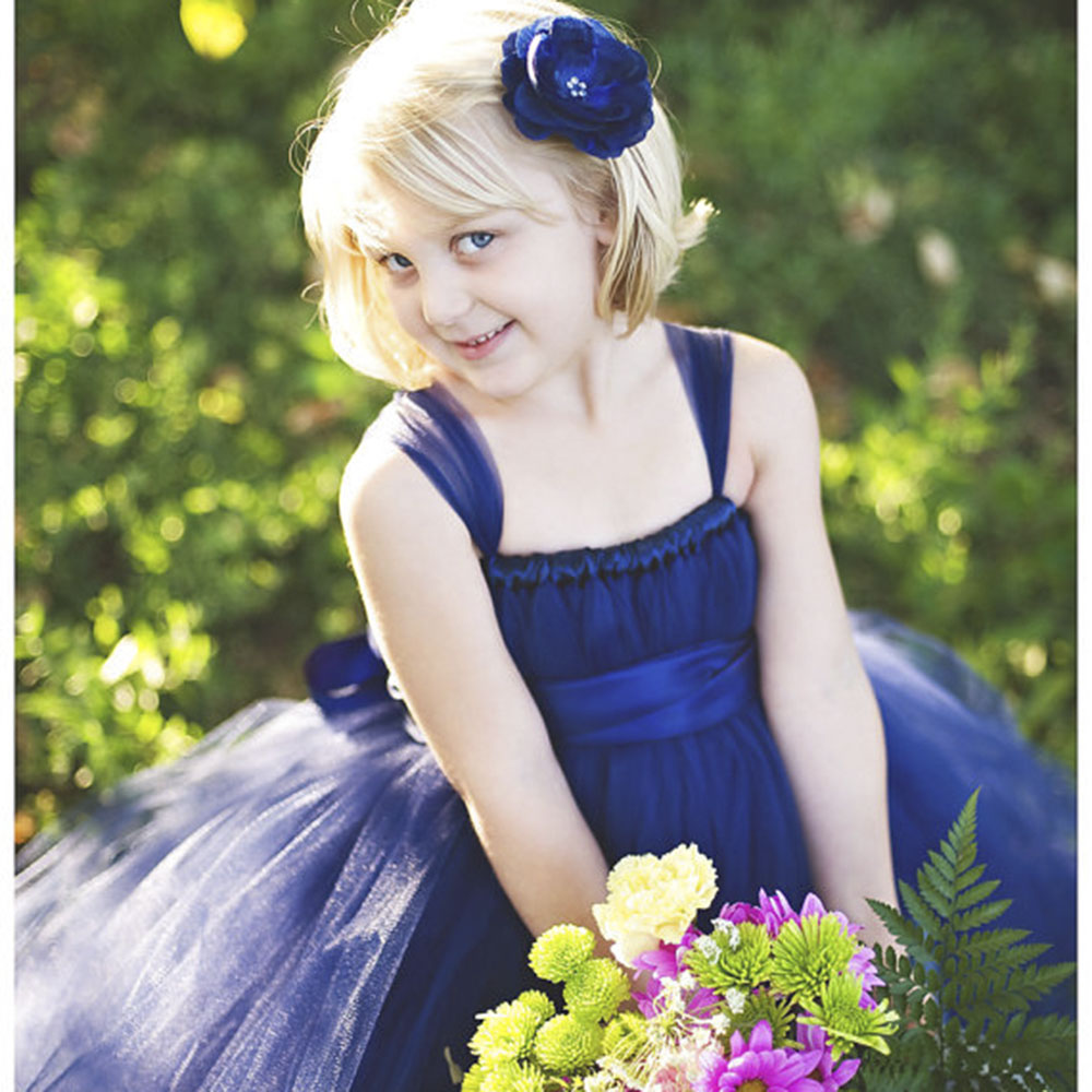 Shabby Navy Flower Girl Wedding Tutu Dress Fluffy Ball Gown Birthday Party Special Occasion Dresses size 2-12 T<br>