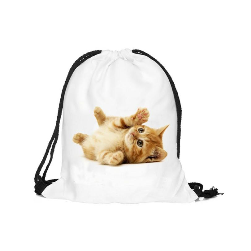 Naivety 2016 New Fashion Unisex 3D Printing Playing Cat Patten Drawstring Backpack Bags AUG15 drop shipping<br><br>Aliexpress