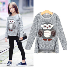 AuroraBaby Big Girls Kids Sweatshirt Cartoon Owl Casual Sweater Coat Girl Boy Clothes Lining Fleece For Autumn