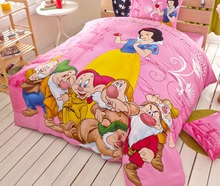 snow white duvet cover queen size 3/4/5pcs 100%cotton bed sheet set twin king pink Disney cartoon bedroom decor kids adult gift