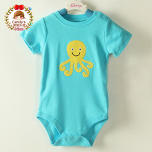 Summer Style NEW Baby Boys Short Sleeve Blue Bodysuit Octopus Toddler Summer Clothing, 69121824m,In Store, yw