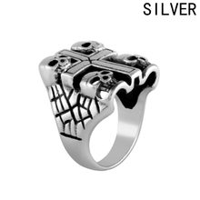 Cool Vintage Cross Skeleton Rings For Women Men Lovers Fashion Jewelry Handsome Biker Skull Ring Death Gold Skull Ring(China)
