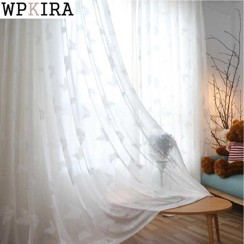 Modern Solid Flocked Butterfly Soft Sheer Curtains For Living Room Finished White Tulle Voile Drapes For Bedroom Balcony S263&30