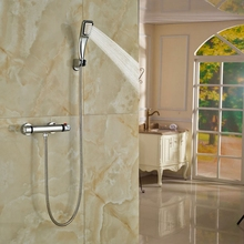 Buy Bathroom Thermostatic Shower Set Wall Mounted Double Levers Hand Shower Brass Chrome Polish for $78.75 in AliExpress store