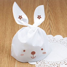 100pcs Long Ear White Rabbit Candy Party Gusset Packaging Bag Clear Bread Cookie Bags Sweet Wedding Birthday Gifts Bag