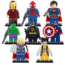8pcs/set The Avengers Marvel DC Super Heroes Series Assembling Action figures Toys Kids Birthday Christmas Gift