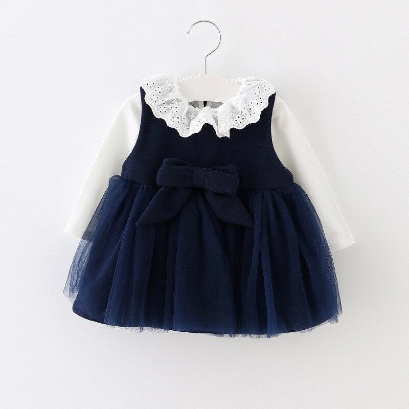 newborn baby princess dress 2psc flower collar t shirt infant girl clothes woolen party costume mesh bow patchwork dresses kids<br><br>Aliexpress