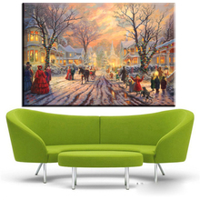 ZZ425 Thomas Kinkade canvas prints art beautiful winter landscape canvas painting for christmas decoration wall decor art(China)