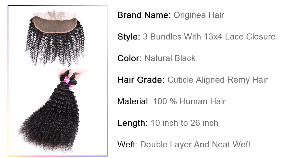 Buy from china Originea Malaysian Kinky Curly Human Hair 3 Bundles With 13x4 frontal Closure Virgin natural hair 360 Lace Frontal Closure With Bundles