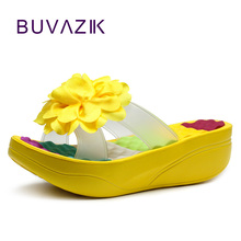 2017 fashion swing women's shoes summer female slippers flower platform wedges flip flops high heels footwear flowers(China)