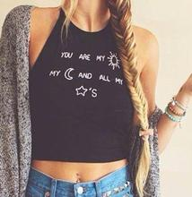Women's Cute Letters Print Tank Top 2016 Summer Ladies Casual Black Halter Camis Crop Tops T Shirt Plus Size  SH149