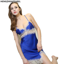 2017 new sexy lace sleeveless sling summer women night wear girl sleepshirts female home nightgowns lady robe gowns
