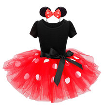 New Arrival Kids Girls Christmas Minnie Mouse Party Dress Kids Polka Dot Ballet Dresses Girls Cosplay For 2-12Y(China)