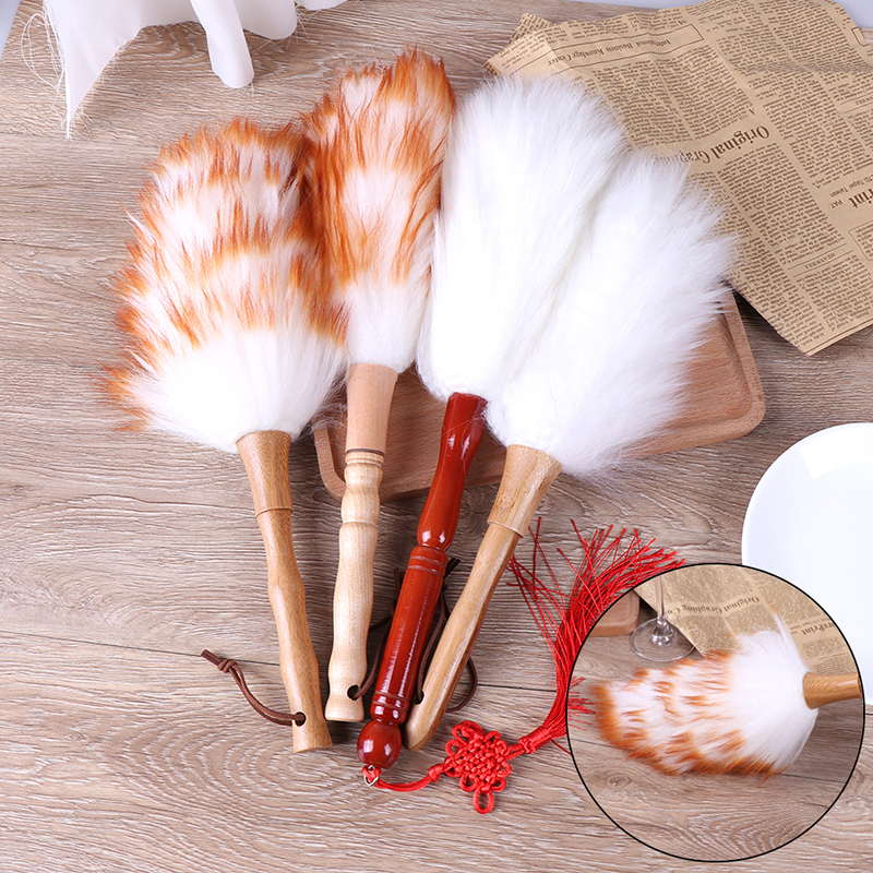 Anti-static Wool lambswool Feather Brush Duster Dust Cleaning Tool Wood Handle