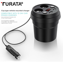 TURATA Car Charger for IOS & Android Devices , 2-Port Multi Function Power Adapter USB Charger with 2-Socket Cigarette Lighter
