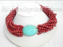 Beautiful 10row red sponge coral necklace