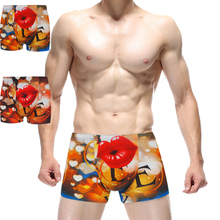 GIRLADY 2016 Mens Brand Sexy Underwear Men 3D Print Boxers Shorts Sexy Red Lip Archer Baby Breathable Cotton Men Boxers Shorts