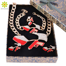 New Unique Design Fashion Punk High-Heeled Shoes Necklace Bracelet Earrings Ring Jewelry Sets +Gift Boxes