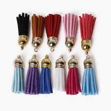 12pcs/lot 38mm Length Suede Tassel Cap Keychain Cellphone Straps Purse Backpack Earrings bag trinket Charms DIY jewelry findings