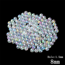 8MM Transparent Rainbow Color Round Water Beads 10 European Decoration Hole Kids DIY Jewelry Making - QIYIGE Official Store store