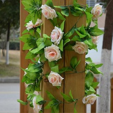 2.45m/lot Fake Silk Roses Artificial Flowers Ivy Vine Hanging Garland Decor with Green Leaves For Home Wedding Decoration(China)