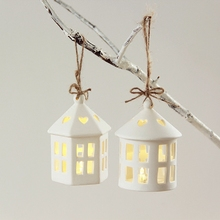 new cabin ceramic small hanging lantern white house candle holders christmas ornaments decorations gift led candle stick(China)