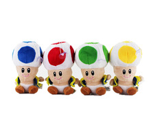 16 CM Super Mario Bros Toad Plush Stuffed Dolls Plush Toy Mushroom Man Animal Baby stuffed dolls high quality gifts for children